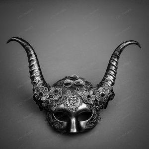 Evil Witch Gothic Horn Lace Women Mask - Silver